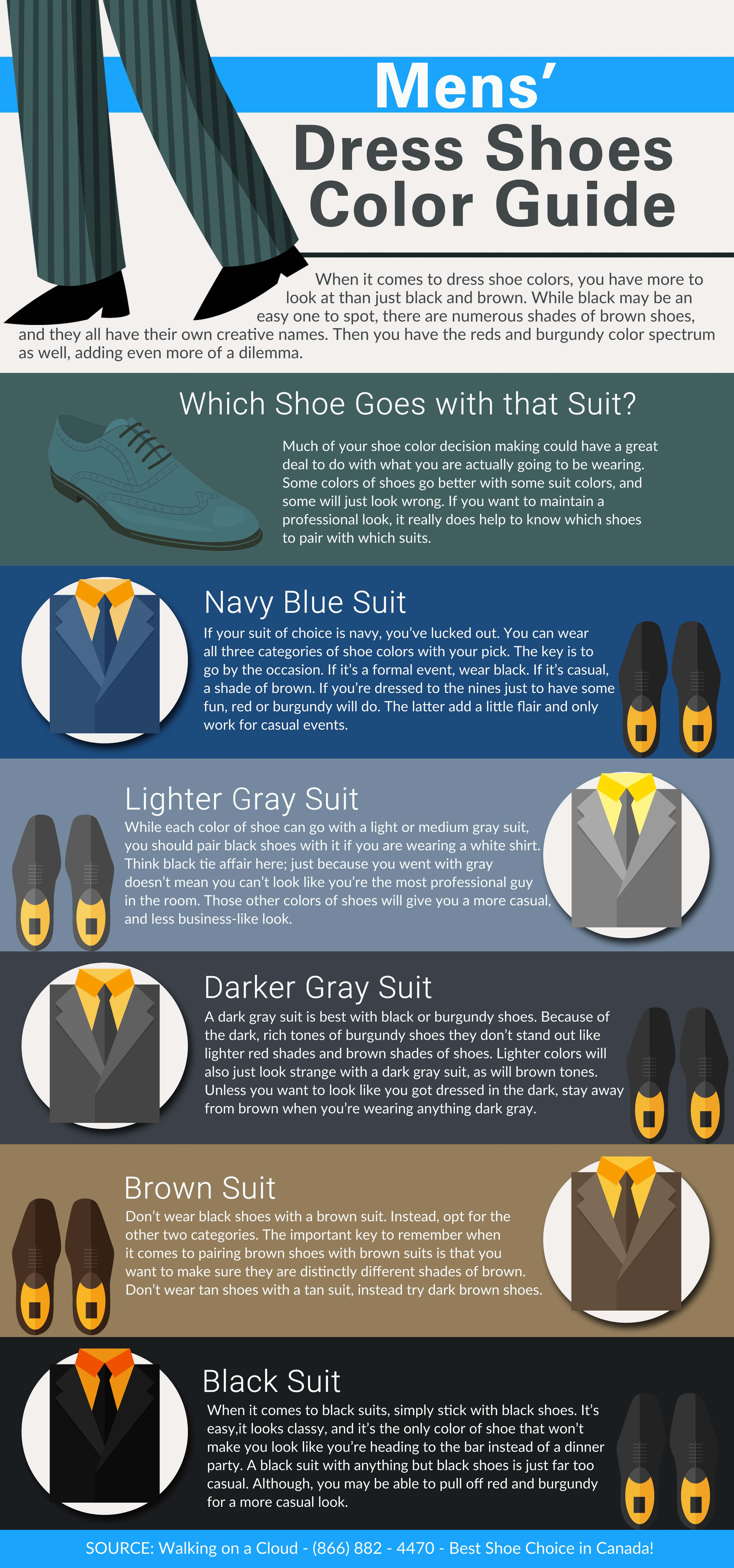 mens� dress shoes color guide infographic
