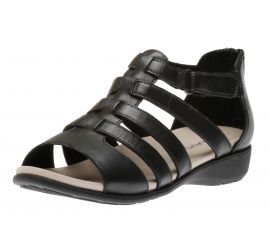 Abbey Black Leather Gladiator Sandal