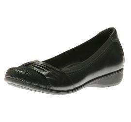 Andrea Black Leather Slip-On Flat