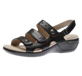 Power Comfort Three Strap Black Leather Sandal