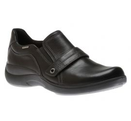 Rev Stridarc Waterproof Black Leather Slip-On