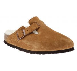 Boston Suede Shearling Leather Mink Clog