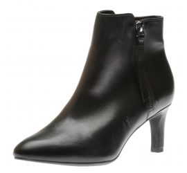 Calla Blossom Black Leather Ankle Boots