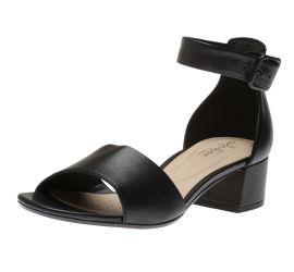 Elisa Dedra Black Leather Open-Toe Sandal