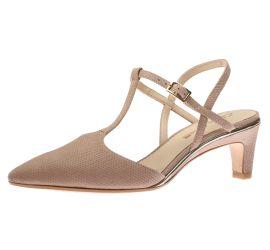 Ellis Lola Nude T-Strap Heeled Sandal