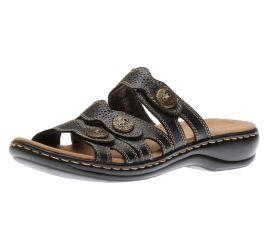 Leisa Grace Black Leather Slide Sandal