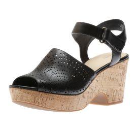 Maritsa Nila Perforated Black Leather Wedge Sandal