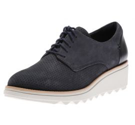 Sharon Crystal Navy Lace-Up Wedge Oxford