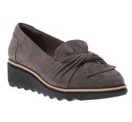 Sharon Dasher Grey Suede Wedge Loafer