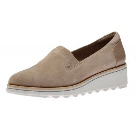Sharon Dolly Sand Suede Wedge Loafer