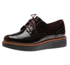Teadale Maira Aubergine Patent Leather Wedge Oxford Lace-Up