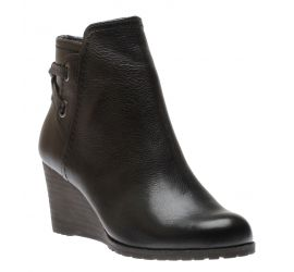 Lucinda Black Back Tie Ankle Wedge Boot