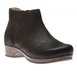 Barbara Black Burnished Nubuck Leather Ankle Boot