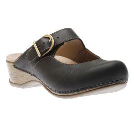 Martina Black Leather Mary Jane Mule