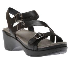 Sacha Black Leather Sandal
