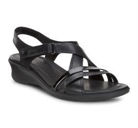 Felicia Sandal Black Leather Adjustable Strap Wedge Sandal