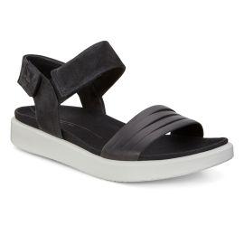 Flowt Black Leather Flat Contrast Sole Sandal
