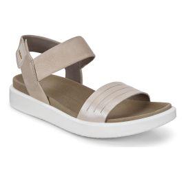 Flowt Grey Leather Flat Contrast Sole Sandal