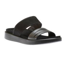 Flowt Black Leather Slide Sandal