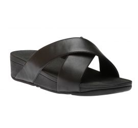 Lulu Black Leather Cross Slide Sandal