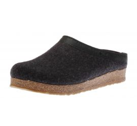 GZL Grizzly Wool Charcoal Leather Trim Clog