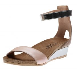 Pixie Pearl Rose Leather Wedge Sandal