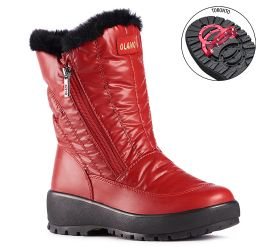 Monica Red Mid-Calf Winter Boot