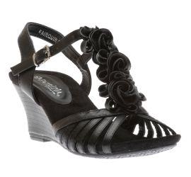Fairquin Black Flower Wedge Sandal