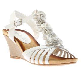 Fairquin White Flower Wedge Sandal