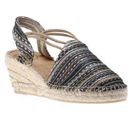 Tania Taupe Navy Espadrille Wedge Sandal