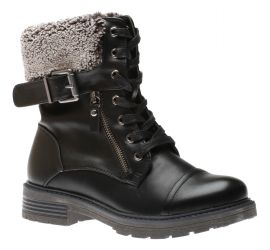 Analise Black Lace-Up Winter Combat Boot