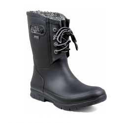 Amanda Plush Lace-Up Black Women's Insulated Rain Boot