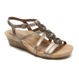 Hannah Pewter T-Strap Wedge Sandal