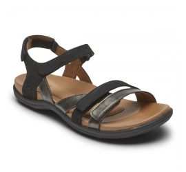 Rubey Black 3-Strap Sandal