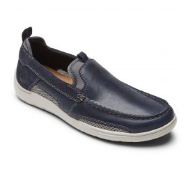Fitsmart Navy Leather Loafer