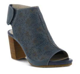 Fab Blue Flower Embossed Leather Sandal