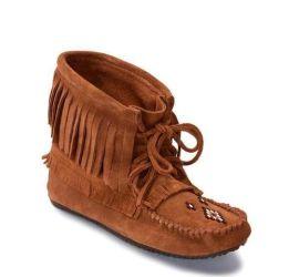 Harvester Copper Suede Unlined Fringe Moccasin Boot