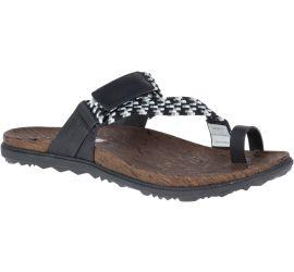 Around Town Sunvue Woven Black White Thong Sandal