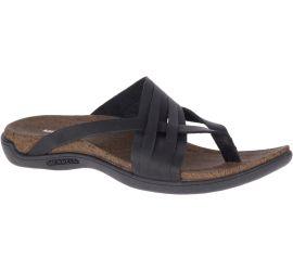 District Mahana Black Leather Thong Sandal