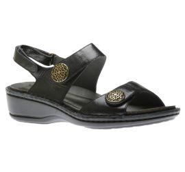 Candace Black Leather Sandal