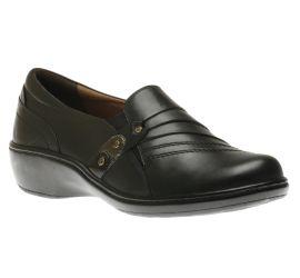 Danielle Black Leather Slip-On