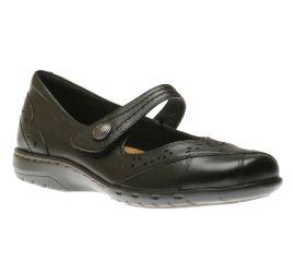 Petra Black Leather Mary Jane Flat