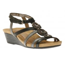 Hannah Black T-Strap Wedge Sandal