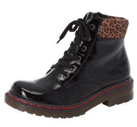 Largo Black Patent Leopard Combat Boot