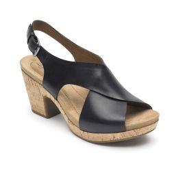 Alleah Black Slingback Platform Sandal