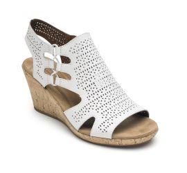 Janna White Wedge Sandal
