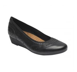 Judson Black Perforated Leather Wedge Pump