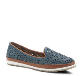 Tulisa Blue Leather Slip-On Loafer
