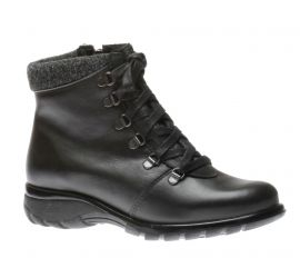 Yukon Black Leather Lace-Up Winter Ankle Boot