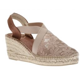 Terra Taupe Embroidered Flowers Espadrille Wedge Sandal